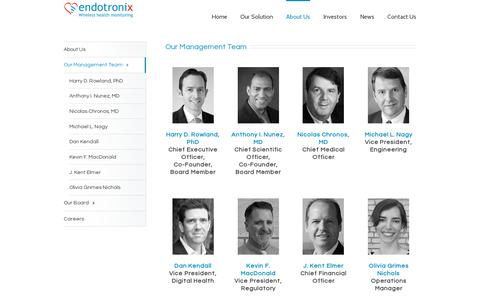 Screenshot of Team Page endotronix.com - Endotronix Wireless Health Monitoring for Heart Failure Management   –  Our Management Team - captured July 19, 2014