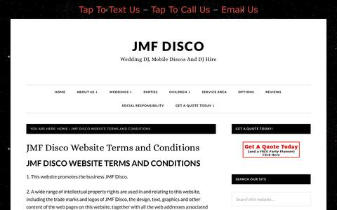 Screenshot of Terms Page jmfdisco.co.uk - JMF Disco Website Terms and Conditions - JMF Disco - captured July 27, 2018