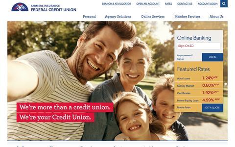 Screenshot of Home Page figfcu.com - Farmers Insurance Federal Credit Union | - captured Nov. 24, 2016