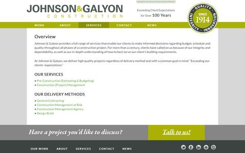 Screenshot of Services Page johnsongalyon.com - Services | Johnson & Galyon Construction - captured Nov. 27, 2016