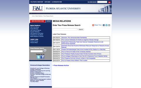 Screenshot of Press Page fau.edu - FAU - Press Release Search - captured Sept. 18, 2014