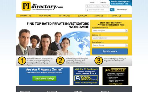 Screenshot of Home Page Site Map Page pidirectory.com - Private Investigators Directory - Find Local Private Investigators - Trusted Private Investigators Reviews - captured Oct. 1, 2014