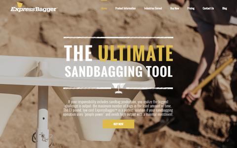 Screenshot of Home Page expressbagger.com - The Ultimate Sandbagging Tool - Express Bagger - captured Jan. 23, 2015