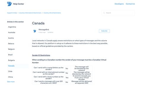 Canada – Support & Help