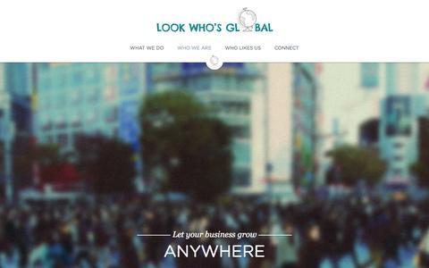 Screenshot of Home Page lookwhosglobal.com - Look Who's Global - captured Sept. 30, 2014
