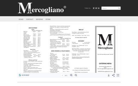 Screenshot of Menu Page mercoglianollc.com - Catering Menu - Mercogliano,LLC. - captured Sept. 20, 2018