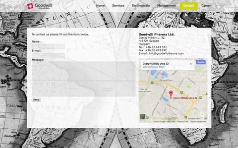 Screenshot of Contact Page goodwillpharma.com - Goodwill Pharma•Contact - captured Oct. 8, 2014