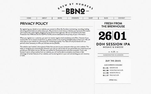 Screenshot of Privacy Page brewbynumbers.com - PRIVACY POLICY - Brew By Numbers - captured Aug. 3, 2018