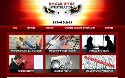 Screenshot of Home Page eagleeyesinvestigations.com - Private Investigators in Kansas City | Eagle Eyes Investigations - captured May 13, 2017
