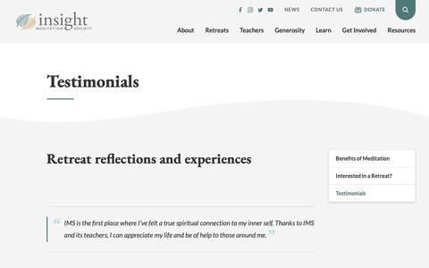 Screenshot of Testimonials Page dharma.org - Testimonials – Insight Meditation Society - captured Oct. 12, 2018