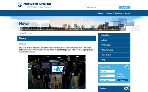 Screenshot of Press Page networkcritical.com - Network Critical - Network Critical   Latest News - captured Nov. 5, 2014