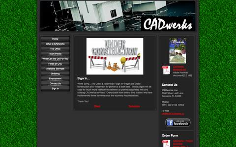 Screenshot of Login Page cadwerks.us - Sign In - Your Premier CAD Solutions Company! - captured Oct. 1, 2014