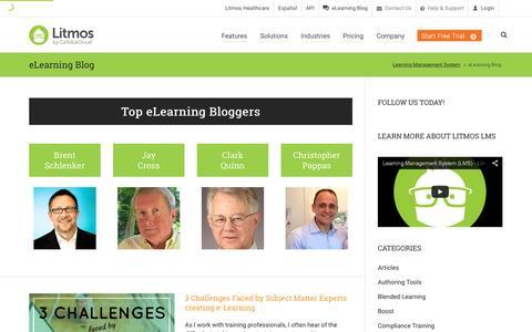 Screenshot of Blog litmos.com - eLearning Blog | Best Training Articles, Tips, Guides, News | Litmos - captured Oct. 1, 2015