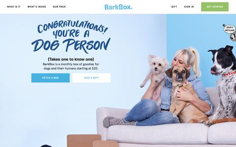 Screenshot of Home Page barkbox.com - Dog Toys, Treats & Gifts Every Month | BarkBox - captured Nov. 8, 2016