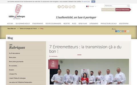 Screenshot of Blog tables-auberges.com - Actualites Et Guide Des Etablissements Hoteliers Et Gastronomiques | Tables et Auberges de France - captured Dec. 2, 2016