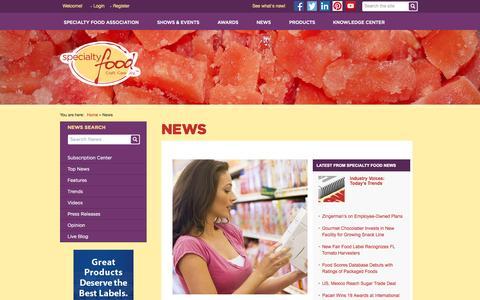 Screenshot of Press Page specialtyfood.com - Specialty Food Association - captured Oct. 30, 2014