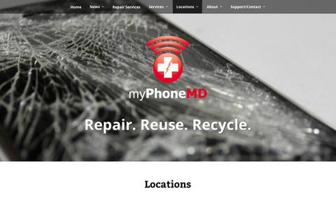 Screenshot of Locations Page myphonemd.net - Retail locations for smart device repair and accessories. | myPhoneMD - captured Jan. 11, 2016