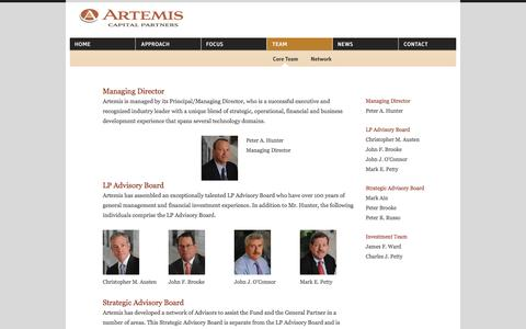 Screenshot of Team Page artemislp.com - Team | Artemis Capital Partners - captured Oct. 4, 2014