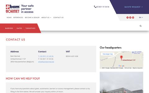 Screenshot of Contact Page bambormet.be - Contact us - captured Oct. 10, 2017