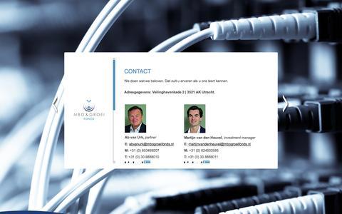 Screenshot of Contact Page mbogroeifonds.nl - MBO & Groei Fonds  | Contact - captured Sept. 30, 2014