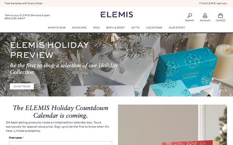 Screenshot of Signup Page elemis.com - ELEMIS Holiday Preview - - captured Oct. 9, 2017