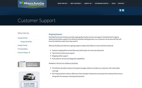 Screenshot of Support Page allianceautogas.com - Customer Support | Alliance AutoGas - captured July 29, 2018