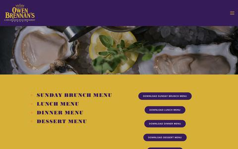 Screenshot of Menu Page brennansmemphis.com - Menu — Owen Brennan's - captured June 29, 2018