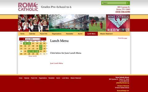 Screenshot of Menu Page romecatholic.org - Rome Catholic School - captured June 20, 2016