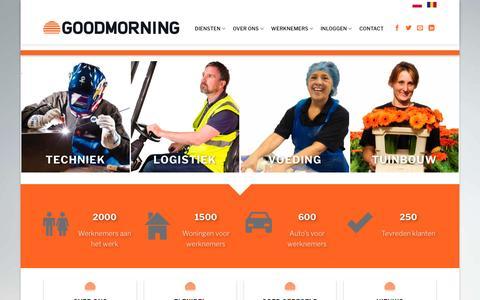 Screenshot of Home Page goodmorning.nl - Goodmorning Uitzendorganisatie - captured May 21, 2017