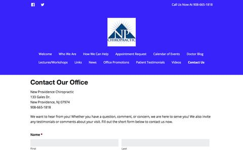 Screenshot of Contact Page npchiro.com - Contact Us - New Providence Chiropractic - captured Oct. 20, 2017