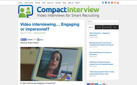 Screenshot of Blog compactinterview.com - Compact Interview | Video interviewing blog for HR professionals - captured Sept. 30, 2014