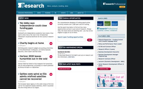 Screenshot of Home Page researchresearch.com - Research - captured Sept. 19, 2014