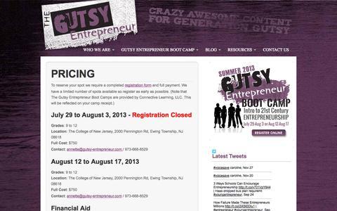 Screenshot of Pricing Page gutsy-entrepreneur.com - Entrepreneurship Boot Camp for Teens | Pricing - Entrepreneurship Boot Camp for Teens - captured Sept. 30, 2014