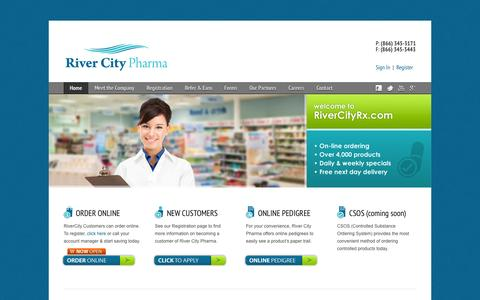 Screenshot of Home Page rivercityrx.com - RiverCityRx-Generic Pharmaceutical Wholesaler Distributor - captured Oct. 6, 2014