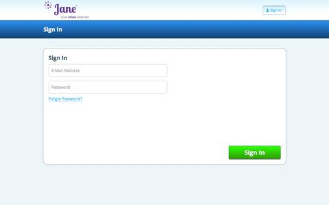 Screenshot of janehires.com - Sign in to your account - captured Oct. 9, 2015