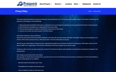 Screenshot of Privacy Page prospectair.com - Privacy Policy | Prospect Airport Services - captured Sept. 30, 2018