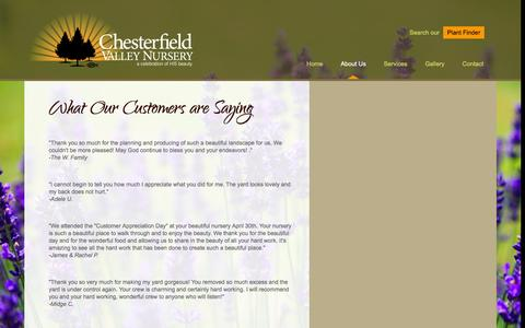 Screenshot of Testimonials Page chesterfieldvalleynursery.com - What Our Customers are Saying   Chesterfield Valley Nursery - captured June 21, 2016