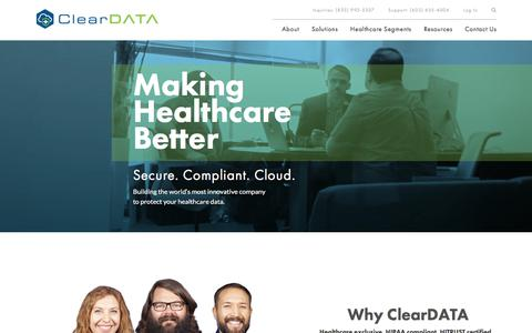Screenshot of Home Page cleardata.com - Home - Clear Data - captured Jan. 28, 2018
