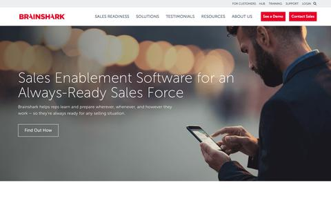 Screenshot of brainshark.com - Sales Enablement & Readiness Software | Brainshark - captured April 24, 2018