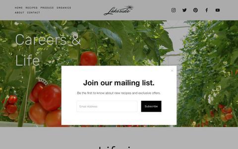 Screenshot of Jobs Page lakesideproduce.com - Careers & Life — Lakeside Produce - captured April 12, 2018