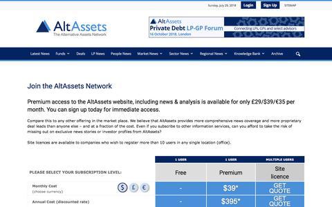 Screenshot of Signup Page altassets.net - Join the AltAssets Network | AltAssets Private Equity News - captured July 29, 2018