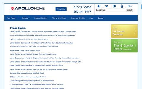 Screenshot of Press Page apollohome.com - Press Room: HVAC Installers In Cincinnati, Apollo Heating Cincinnati, Residential HVAC Cincinnati - Apollo Home Comfort - captured Nov. 21, 2016
