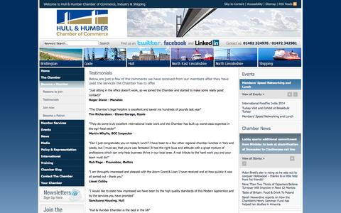 Screenshot of Testimonials Page hull-humber-chamber.co.uk - Hull and Humber Chamber of Commerce, Industry and Shipping - Testimonials - captured Oct. 3, 2014