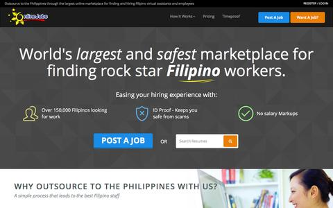 Screenshot of Home Page onlinejobs.ph - Hire the best Filipino employees and virtual assistants the Philippines has to offer! - captured Aug. 19, 2016