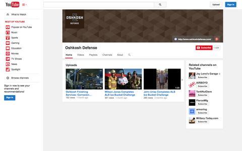 Screenshot of YouTube Page youtube.com - Oshkosh Defense  - YouTube - captured Oct. 26, 2014