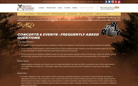Screenshot of FAQ Page jacksoncasino.com - FAQ's - Jackson Rancheria Casino Resort - captured Dec. 12, 2018