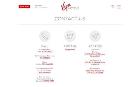 Screenshot of Contact Page virginhotels.com - Contact Us - Virgin Hotels - captured April 2, 2019
