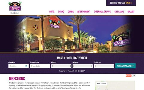 Screenshot of Maps & Directions Page seminoleimmokaleecasino.com - Directions | Seminole Casino Hotel Immokalee - captured Sept. 6, 2016