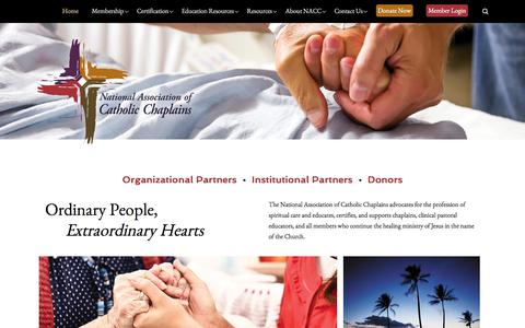 Screenshot of Home Page nacc.org - The National Association of Catholic Chaplains - captured Oct. 19, 2017