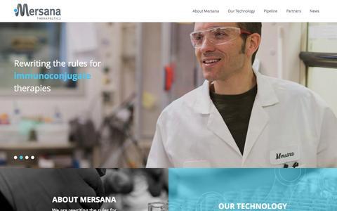 Screenshot of Home Page mersana.com - Mersana Therapeutics - captured Aug. 11, 2015